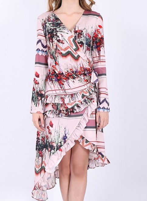 Soie Design Asimetrik Kesimli Desenli Anvelop Elbise Pembe